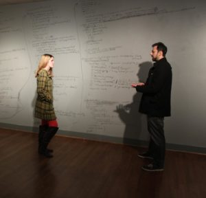 """Clint Bagwell at his 2014 exhibition """"Ghosts"""" at University of Mary Washington. Photo by Rosemary Jesionowski."""