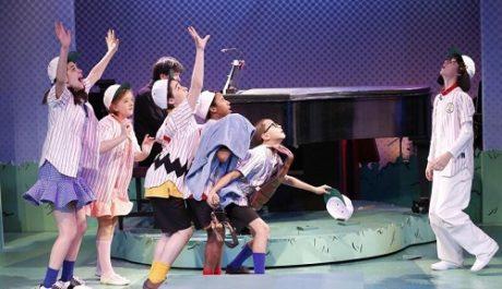 The cast: (Left to Right): Mavis Simpson-Ernst (Lucy), Milly Shapiro (Sally), Joshua Colleyas (Charlie Brown), Jeremy T. Villas (Linus),Gregory Diazas (Schroeder), and Andaiden Gemme (Snoopy). Photo by Carol Rosegg.