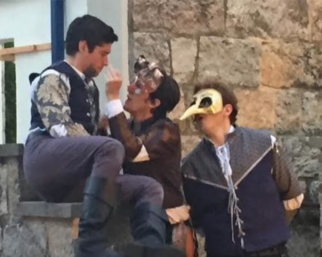 Left to Right: Séamus Miller (Romeo), Vince Eisenson (Mercutio), (curly mask), and Matthew Ancarrow (Benvolio)-bird mask). Photo by Lesley Malin.