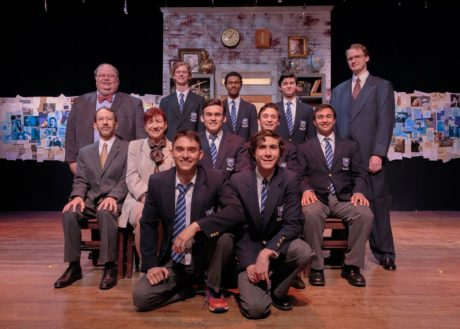 Cast Left to Right - Row 1- Jack Esposito (Rudge), and Joshua Mutterperl (Posner). Row 2- Ned Read (Headmaster), Kate Ives (Dorothy Lintott), Ben Peter (Scripps), Taylor Witt (Dakin), and Kevin Nejad (Akthar). Row 3- Jeffrey Westlake (Hector), Matt Stevenson (Lockwood), Bobby Ramkissoon (Crowther), Noah Mutterperl (Timms), and Mike Dobbyn (Irwin). Photo by Keith Waters /Kx Photography.