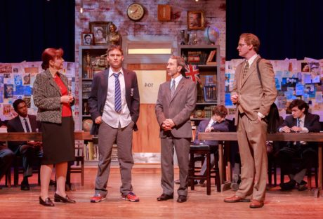 Left to Right - Standing- Kate Ives (Dorothy Lintott), Jack Esposito (Rudge), Ned Read (Headmaster), Mike Dobbyn (Irwin) Seated- Bobby Ramkissoon (Crowther), Joshua Mutterperl (Posner), and Noah Mutterperl (Timms). Photo by Keith Waters / Kx Photography.