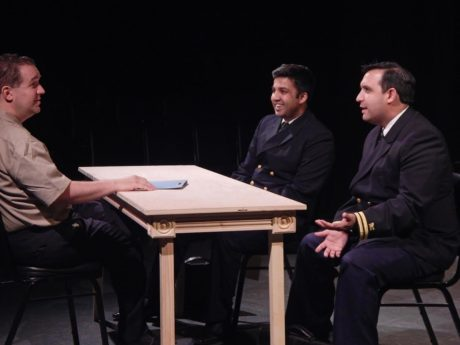 Peter Orvetti (Capt. Whitaker), Andy De (Lt. JG Daniel Kaffee), Adrian Vigil (Lt. JG Sam Weinberg). Photo by Katie Wanschura.