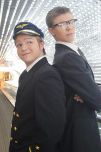 Alex Stone and Jack Posey in 'Catch Me If You Can' at McLean HS. Photo by Karen Perry.