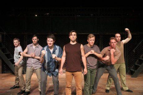 Ari Halvorsen (Baby John), Sean Cator (Snowboy), Derek Marsh (Action), Chris Galindo (Bernardo), Patrick Kearney (Big Deal), Dwayne Allen (A-Rab), and Jeffrey Hollands (Diesel). Photo by Matt Liptak.