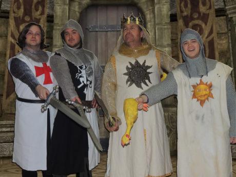 Jordan B. Stocksdale (Sir Galahad), Brett Stockman (Sir Lancelot), Brian Lyons-Burke (King Arthur), and Adam Yastrzemsky (Patsy). Photo courtesy of Way Off Broadway.
