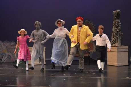 (Jane), (Statue), (Mary Poppins), (Bert), and Michael. Photo by Larry McClemons.