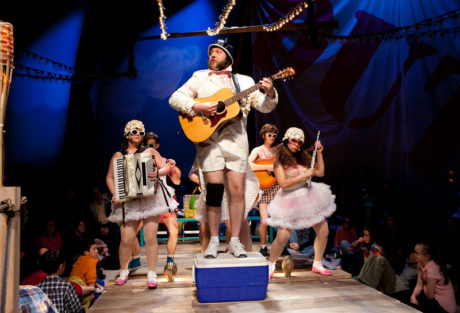 Matt Kahler (Major General) and the cast of The Hypocrites' The Pirates of Penzance.' Photo by Evgenia Eliseeva, courtesy of American Repertory Theatre.