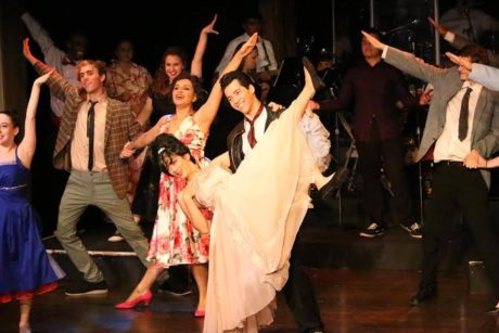 'Shakin' at the High School Hop': From Left to Right: Alex Palmer (Sonny), Sanjana Taskar (Rizzo), SHUBHANGI KUCHIBHOTLA (Frenchy), and Marry Montes (Danny Zuko). Photo by Doga Tasdemir.
