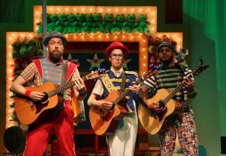 4 / 5 Matt Kahler (Ko-Ko), Mario Aivazian (Pooh-Bah), and Brian Keys (Pish-Tush) in The Hypocrites' THE MIKADO at Olney Theatre Center. Photo by Anna Danisha Crosby.