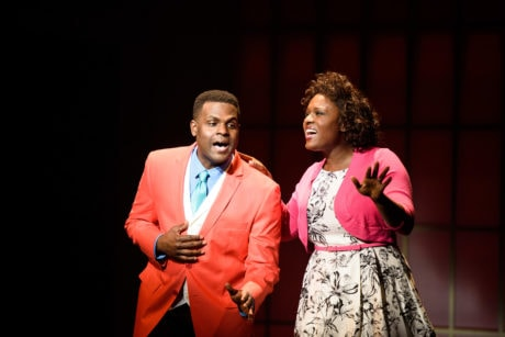(L to R) Juan Winans (BeBe) and Deborah Joy Winans (CeCe). Photo by Greg Mooney, courtesy Alliance Theatre.