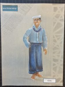 "Character sketch of Cecil in pen/man/ship."" Courtesy designer Trevor Bowen."