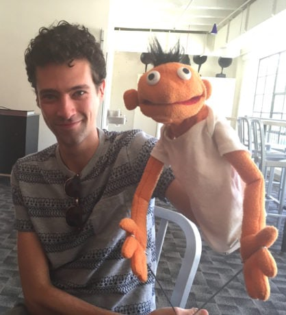 Liam Forde, who plays Jason in Hand to God at Studio Theatre, with his Tyrone rehearsal puppet. Photograph by John Stoltenberg.