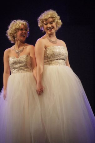 Anna Phillips-Brown (Violet Hilton) and Tori Meyers (Daisy Hilton in Side Show). Photo by Richard Church.