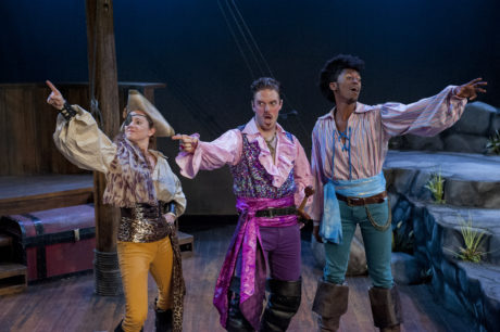Kimberly Oppelt (Ruth), Jake Blouch (Pirate King), and Garrick Morgan (Frederic). Photo by John Flak.