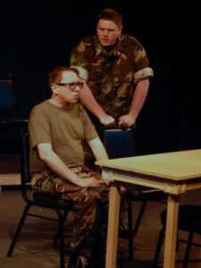 (standing) Michael J. Dombroski as Lt. Col. Nathan Jessup, and (sitting) Donald R. Cook (Capt. Matthew Markinson). Photo by Katie Wanschura.