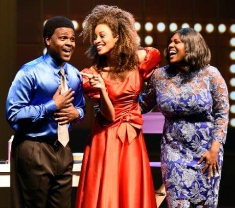 Juan Winans (from left) (BeBe), Kiandra Richardson (Whitney Houston), and Deborah Joy Winans (CeCe). Photo by Greg Mooney.
