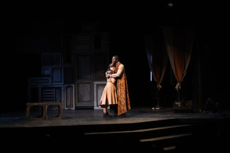 Lynn Favin (Ophelia) and Audrey Tchoukoua (Polonius). Photo by Paige A. Hathaway.