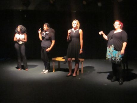 Melanie Lawrence, Courtney James, Corrie Bolcik, and McKenna G. Kelly in '10,000 Cigarettes.' Photo by David Jones.