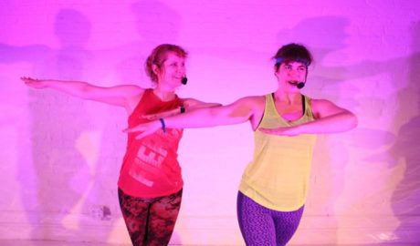 L to R: Amy Staats and Megan Hill in 'The Last Class: A Jazzercise Play.' Photo by Reid Thompson.