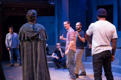 Working with the cast of 'Julius Caesar' at Folger Theatre. Photo by Teresa Wood.