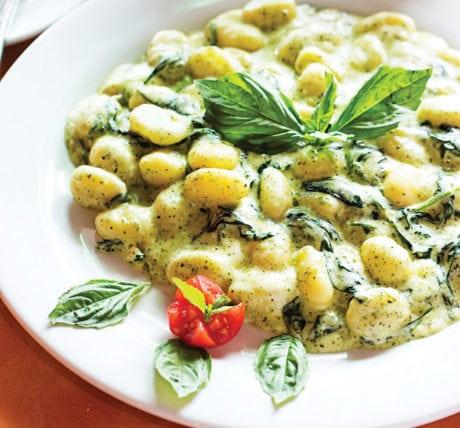 The gnocchi in pesto-cream sauce. Photo by Scott Suchman.