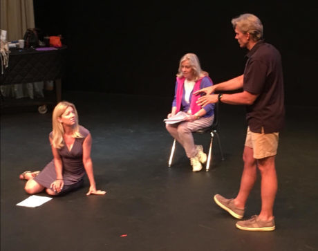 Rehearsal of 'Breathing Under Dirt' in July in Los Angeles. L to R: Cynthia Watros (Patience), Tina Sloan (Grace), and Director Grant Aleksander. Photo by Emma Rose Marie Gilliland.