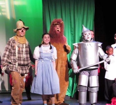 Tim Macdonald (Scarecrow), Lucia LaNave (Dorothy), Jim Mitchell (The Cowardly Lion), and Kieth Flores (The Tinman). Photo by Michelle Macdonald.