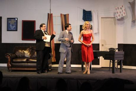 B Thomas Rinaldi (Max), Nathan Bowen (Leo), and Erica Miller (Ulla). Photo by Lauren Winther-Hansen.