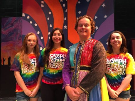 'Joseph & The Amazing Technicolor Dreamcoat. cast members: ' From Left to Right: Corinne Podolski, Vanessa Matos, Spencer Lyons, and Miranda Muniz. Photo by Charles Garrison.
