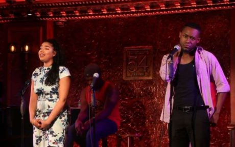 """Geocel Batista and Vaughn Midder performing the song """"When It's Cold Outside Reprise."""""""