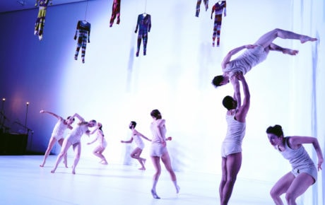 Dancers of the Inbal Pinto and Avshalom Pollack Company performing 'Wallflower' in 2015. Photo courtesy of The Clarice. Photo by Daniel Tchetchik.