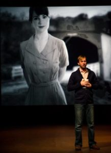 Derek Basthemer (Robert) remembering Francesca. Photo by Maura McConnell.