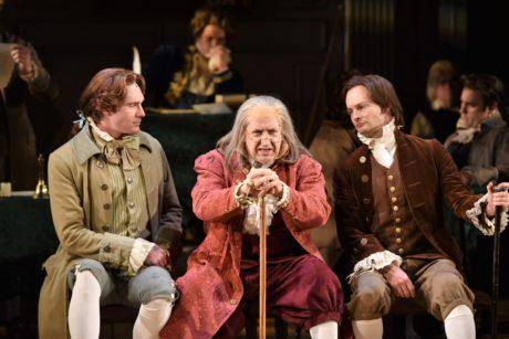 Michael Glavan (Thomas Jefferson), David Studwell (Benjamin Franklin), and Jamie LaVerdiere (John Adams). Photo by Michael DeCristofaro.