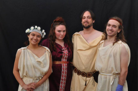 Wendy Briggs (Daughter), Mary Burnett (Medea), Dan Clark (Jason), and Tom Barylski (The Son). Photo by David Seidman.