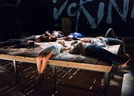 (Clockwise, from bottom) Cindy De La Cruz (Nina), Alex Keiper (Mash(, Aubie Merrylees (Con), Greg Wood (Sorn), Grace Gonglewski (Emma), Karl Miller (Trigorin), and Dan Hodge (Dev). Photo by Mark Garvin.