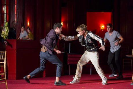 Alex Mickiewicz (Tybalt), Jeffrey Carlson (Mercutio), and Andrew Veenstra (Romeo). Photo by Scott Suchman.