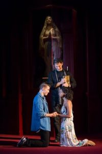 (Andrew Veenstra (Romeo), Ron Menzel (Friar Laurence), and Ayana Workman (Juliet). Photo by Scott Suchman.