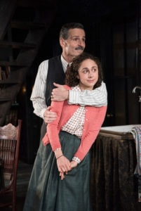 Carolyn Faye Kramer (Anne Frank) and Paul Morella (Otto Frank). Photo by Stan Barouh.