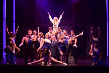 Center: Brittany Lacey (Elle Woods) and the cast of 'Legally Blonde.' Photo by Peter Lanscombe, Theatre Three Productions, Inc.