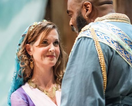 Young Desdemona (Diane Curley) has eloped with Othello, who is the mighty general of Venice's army. Photo by Teresa Castracane.