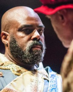 After eloping with Desdemona, Othello (Jason B. McIntosh) endures the wrath of her father, Brabantio (Jeff Keogh). Photo by Teresa Castracane.