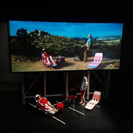 2.Pandæmonium set, with mannequins and movie screen. Photo courtesy of the production.