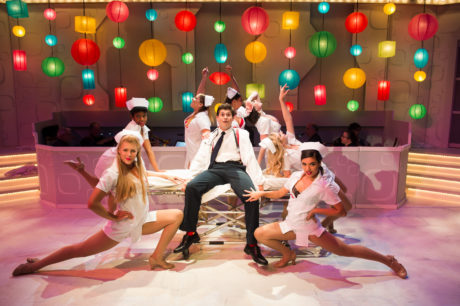 """Matthew Hirsh (center) and the Frank Abagnale, Jr. Dancers: L to R: Corinne Holland, Patricia """"Pep"""" Targete, Melrose Pyne, Hannah Jennens, Carolyn Burke, Alexis Krey, and Ariana Kruszews. Photo by Traci J. Brooks Studios."""