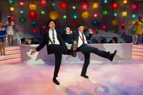 L To R: Russel Rinker and Matthew Hirsh, and the cast of 'Catch Me If You Can.' Photo by Traci J. Brooks Studios.