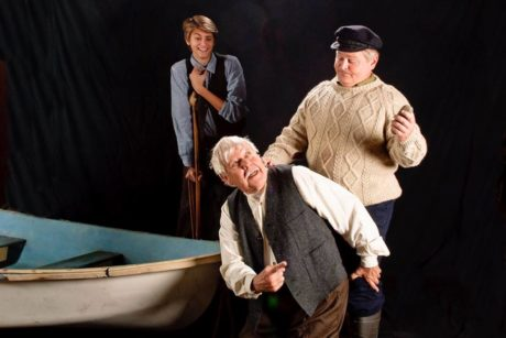 L to R: Jack Leitess (Billy), Edd Miller (Johnnypateenmike), and Scott Nichols (Babbybobby). Photo courtesy of Colonial Players.