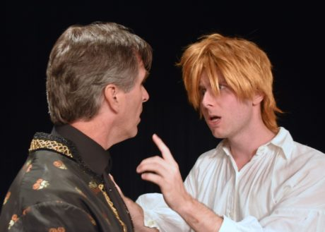 Dave Whitehead (Salieri) and Mike Rudden (Mozart) rehearse a scene from 'Amadeus.' Photo by Chip Gertzog.