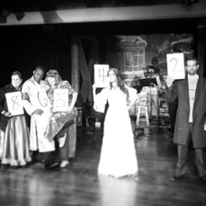 Suspects for Murder: L to R: Princess Puffer (Ally Jenkins), Neville Landless (Andre Brown), Helena Landless (Mary Patton), Rosa Bud (Shaina Kuhn), and Durdles (Matt Baughman). Photo courtesy of Landless Theatre Company.