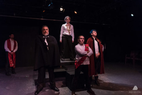 The cast of 'Henry V': Left to Right: Joshua Engel, Paul Davis, Allison McAlister, Rebecca Korn, and Charlie Green. Photo by Prismatic.