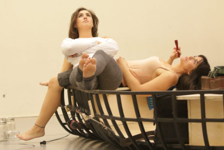 Maria Rizzo and_Rachel Zampelli in rehearsal. Photo by Christopher Mueller.