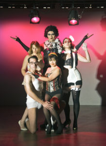 Top: Eric Jones as Frank N. Furter; L-R: Tracy Haupt as Janet Weiss, Katie Rattigan as Magenta, Jeremy Blaustein as Brad Majors, and Karli Cole as Columbia. Photo by Badi Reinhold.